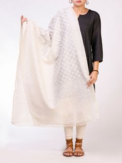 Off White Tusser Silk Dupatta with Kantha Work