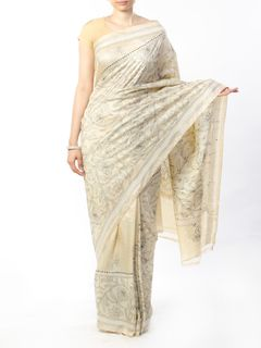 Off White Tussar Silk Saree with Kantha hand-embroiedry