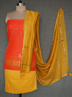 Red Handwoven Zari Buti Salwar Kurta Fabric with Chanderi Zari Dupatta - set of 4
