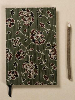 Forest Green Block Print Fabric Note Book