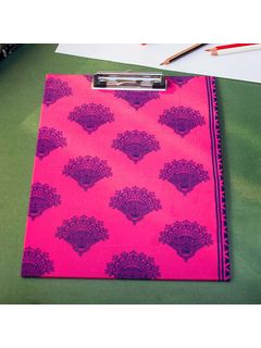 Pink Printed Fabric Cover Dafti Large - 13 x 9 Inch