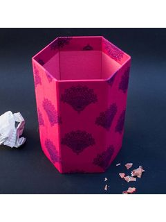 Pink Printed Fabric Cover Bin - 8 x 6.5 Inch
