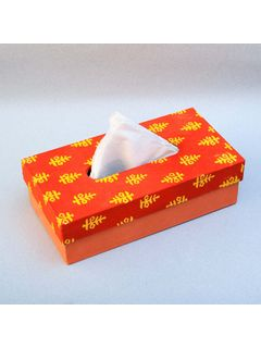 Orange Printed Fabric Cover Tissue Box - 9.5 x 2.5 x 5 Inch