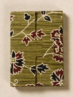 Olive Green Block Print Fabric Card Holder