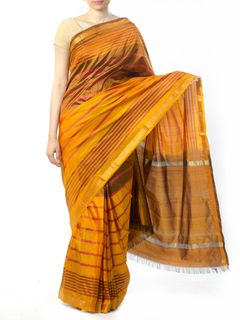 Yellow Striped Silk Saree