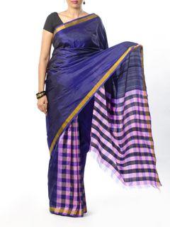 Purple Checkered Silk Saree
