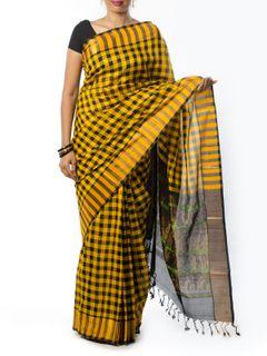 Black and yellow checkered Silk Saree