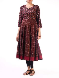 Black Ajrak Cotton Anarkali Kurta with Front Embroidery