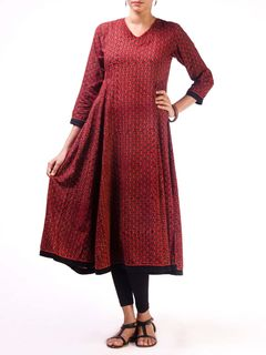 Maroon Ajrak Anarkali Kurta with Side Panels