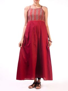 Maroon Long Dress with Empire Detail