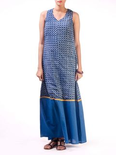 Blue Block Printed Long Dress with Solid Border