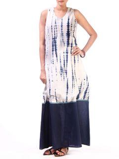White-Indigo Block Printed Long Dress with Solid Border
