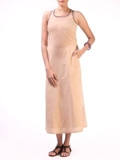Beige Long Razerback Long Dress with Block Printed Pocket Detail