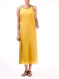 Yellow Long Razerback Long Dress with Block Printed Pocket Detail