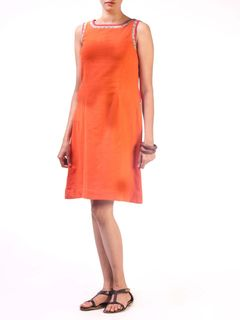 Orange Cotton Short Dress with Pocket Detail