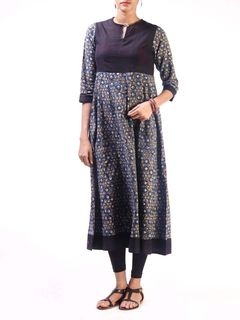 Black Ajrak Cotton Anarkali Kurta with Mangalgiri Bodice