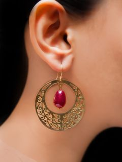 Maroon full moon earrings