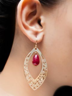 Maroon waxing moon earrings