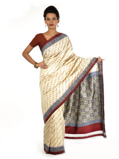 White and Grey Ikat Silk Saree
