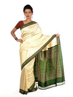 Off-white and Green Ikat Silk Saree