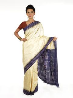 Off-white and Blue Ikat Silk Saree