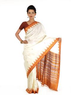 White and Ochre Ikat Silk Saree