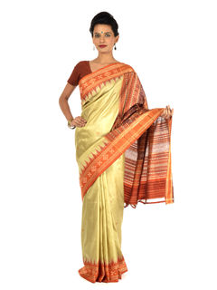Lime and Orange Ikat Silk Saree