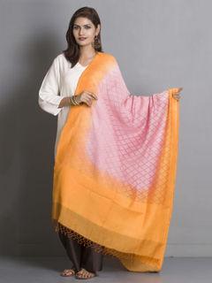 Pink and Orange Banarasi Cotton Dupatta