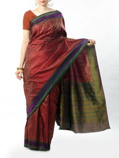 Maroon Tanchoi Silk Saree