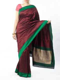 Maroon-Black Tanchoi Saree with Zari pallu