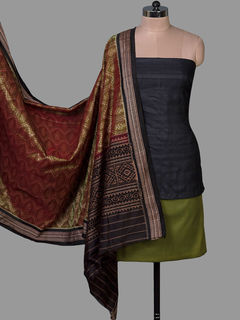 Maroon Tussar Silk Unstiched Dress Material with Ikat silk Dupatta