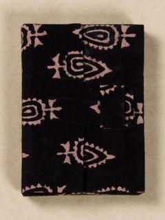 Black Block Print Fabric Card Holder
