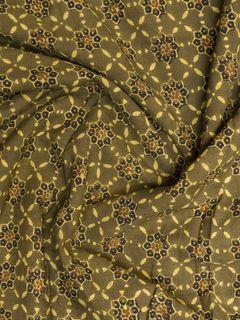 Green Ajrak Block Print Cotton Fabric