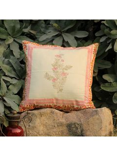 Rose Pink Lambeh Zari cushion