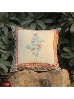 Rose Red Lambeh Zari cushion