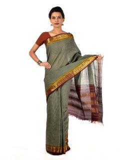 Cool Gray Gadwal Cotton saree