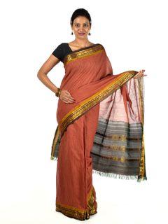 Brick Red Gadwal Cotton saree