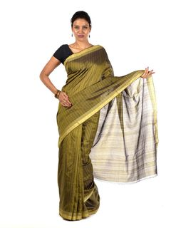 Olive Muga cotton Saree