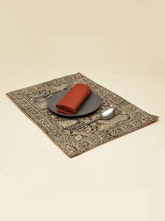 Bistre Stripes Kalamkari Table Mat