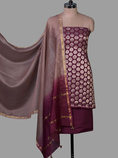 Maroon Banarasi Georgette Unstiched Dress Material with Chanderi Dupatta