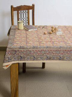 Mustard Ranha Kalamkari 4 seater table cover