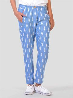 Light blue buttoned trousers