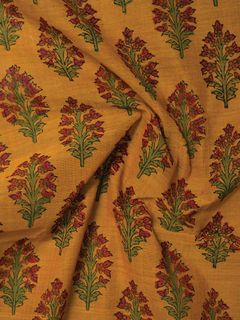 Yellow Mangalgiri Cotton Fabric