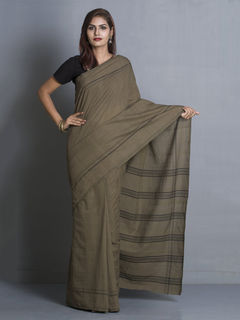 Olive-green Organic Cotton Saree