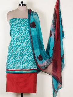 Green color chanderi dress material With Dupatta