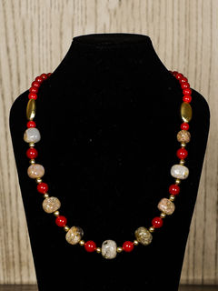 Beige Semiprecious Stone Necklace