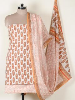 Orange mul cotton dress material With Dupatta