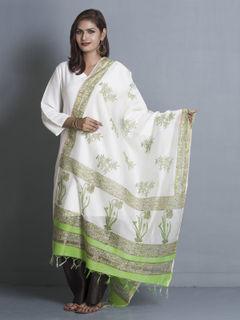 White Chanderi Block Print Dupatta