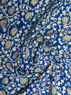 Royal Blue Block Print Cotton Fabric