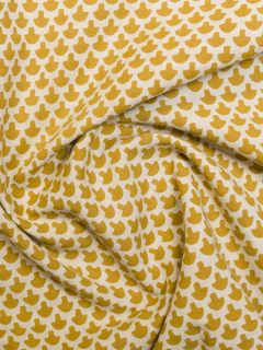 Yellow Block Print Cotton Fabric